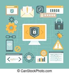 información, estilo, concepto, plano, vector, seguridad de internet