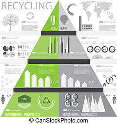 información, gráfico, reciclaje
