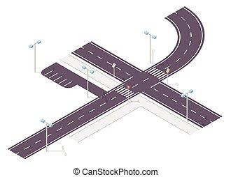 información, gráfico, signo., señal, crossway., calle, ...