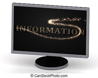información, inscripción, en, monitor, de, metal, cartas