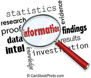 información, lupa, buscando, hechos, datos, investigación