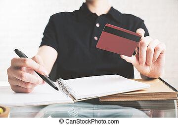 información, mujer, copiado, tarjeta