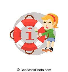 información, niña, flotador, tirar