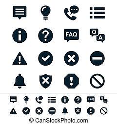 información, notificación, iconos