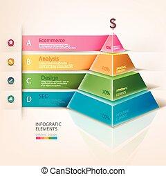 información, pirámide, coloreado, gráficos
