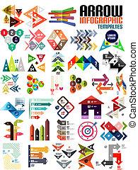 información, plantillas, conjunto, forma, flecha, geométrico