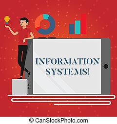 información, smartphone, empresa / negocio, referencia, foto, actuación, propensión, girado, idea, escritura, nota, sistemas, gráfico, showcasing, lado, icon., hombre, exacto, estudio, systems.