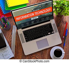 información, technology., oficina, trabajando, concept.
