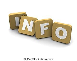 información, text., 3d, rendido, ilustración, aislado, en,...