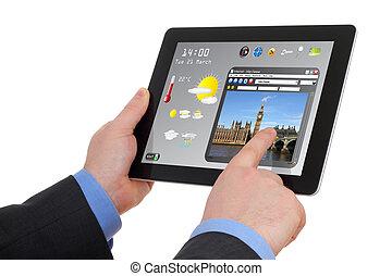 información, touchscreen, buscando, almohadilla, hombre de ...