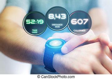 informaciones, smartwatch, corriente, interfaz, deporte, datos