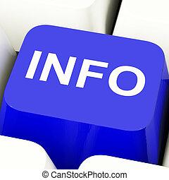 informacja, błękitny, informacja, pokaz, komputerowy klucz, poparcie