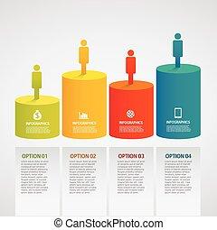 informacja, barwny, grafika, -, walec