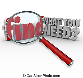 informacja, co, badawczy, szkło powiększające, potrzeba, ty,...