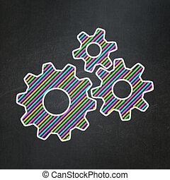 informacja, concept:, chalkboard, tło, mechanizmy