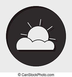 informacja, -, częściowo pochmurny, ikona