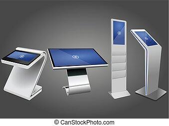 informacja, cztery, display., wystawa, promocyjny, terminal, kiosk, reklama, dotyk, stać, ekran, interaktywny