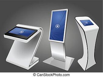 informacja, display., wystawa, trzy, promocyjny, terminal, kiosk, reklama, dotyk, stać, ekran, interaktywny