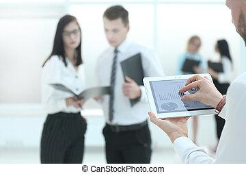 informacja, finansowy, tabliczka, up.businessman, analizy, cyfrowy, zamknięcie