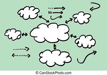 informacja, graficzny, czysty, (cloud)