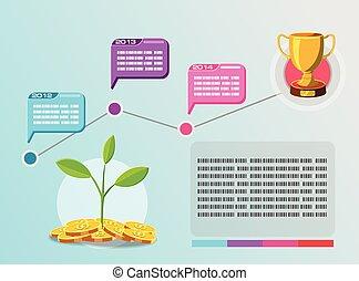 informacja, graficzny, handlowy, timeline, wektor, plan
