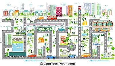 informacja, graphics-.eps, handel, miasto, sylwetka