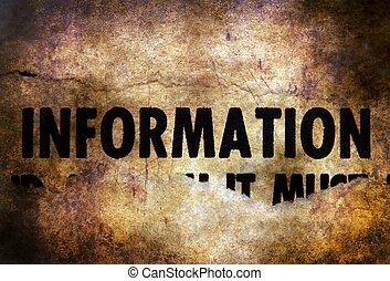 informacja, grunge, tło, tekst