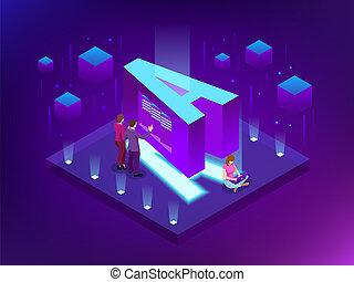 informacja, isometric, visualization., sieć, handlowy, cielna, abstrakcyjny, complexity., analytics, wzrokowy, wektor, litera, towarzyski, reprezentacja, dane, albo, futurystyczny, design.