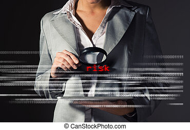 informacja, kobieta handlowa, ryzyka, zakładać, bezpieczeństwo
