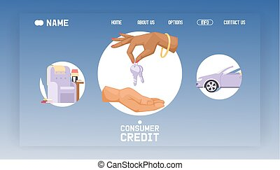 informacja, kredyt, banking., illustration., służba, banner., klawiatura, handel, siła robocza, handlowy, kupny, strona, zastosowanie, wektor, lądowanie, online, kupujący, konsument, wpłata, wóz
