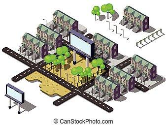 informacja, miejski, pojęcie, miasto, ilustracja, graficzny, tablica ogłoszeń