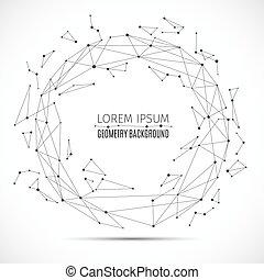 informacja, pojęcie, dots., kwestia, polygonal, kula, wektor, związany, połączyć, geometryczny