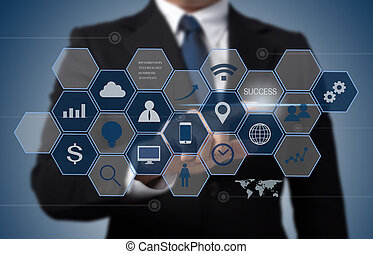 informacja, pojęcie, handlowy, pracujący, nowoczesny, ...