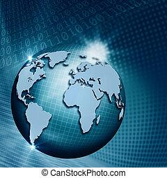 informacja, technology., abstrakcyjny, globalny, tła, techno, projektować, twój
