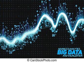 informacja, visualization., sieć, handlowy, cielna, abstrakcyjny, estetyczny, complexity., analytics, wzrokowy, wektor, nitki, futurystyczny, towarzyski, zawiły, representation., graphic., dane, albo, infographics, design.