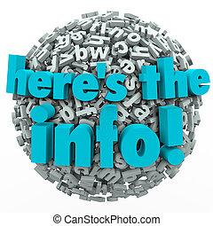 informacja, wyniki, praca badawcza, kula, przegląd, litera, here's, 3d