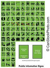 informacja, zielony, publiczność, znaki