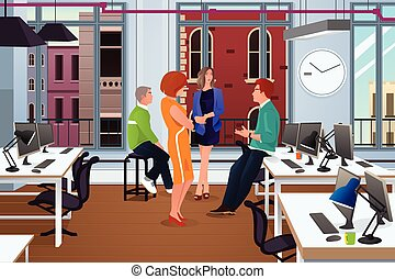 Informal Business Meeting in the Office - A vector...