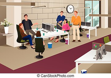 Informal business meeting - A vector illustration of a group...