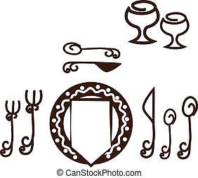 Informal Table setting placement. Artistic design tableware. Isolated on a white background.