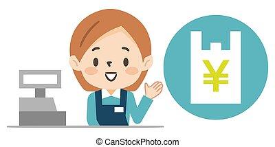 informando, sacolas, nós, shopping, débito, escriturário, jovem, caixa, femininas