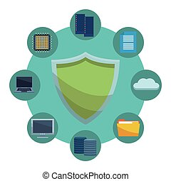 informatic security symbol and items