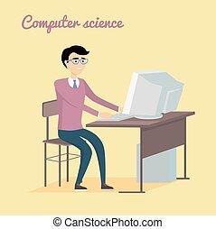 informatica, concetto, in, appartamento, stile, design.