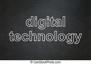 informatie, concept:, digitale technologie, op, chalkboard, achtergrond
