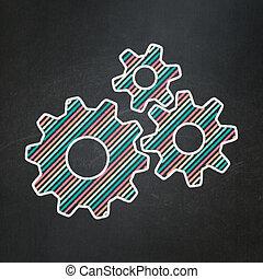 informatie, concept:, toestellen, op, chalkboard, achtergrond