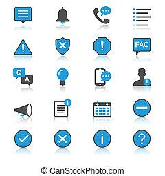 informatie, en, bericht, plat, met, reflectie, iconen