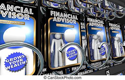 informatie, financieel, geld, raad, adviseurs, illustratie, investering, 3d