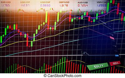 informatie, forex, financieel, zakelijk, grafiek, -, diagrammen, /, handel, plank, data, liggen