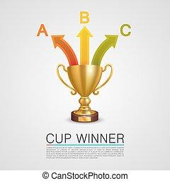 informatie, grafisch, winnaar, kop