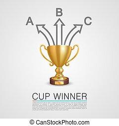 informatie, grafische kunst, winnaar, kop